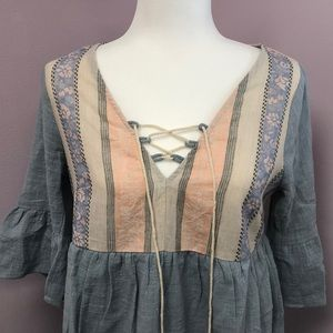 Tassels N Lace Dresses - Babydoll Blue Dress with Tassel front